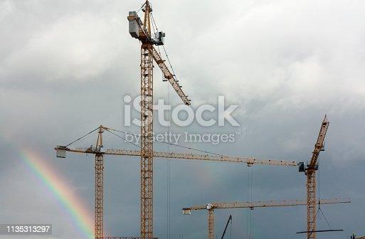 Crane lifting construction parts