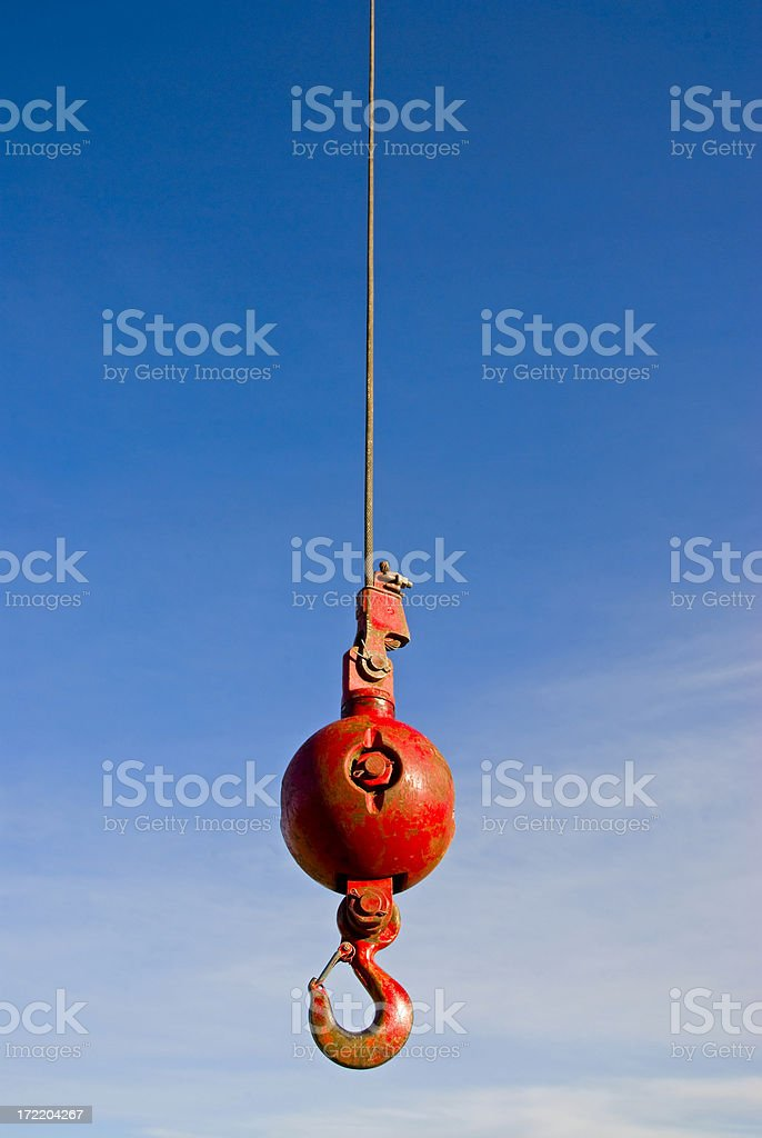 Crane lifting hook royalty-free stock photo