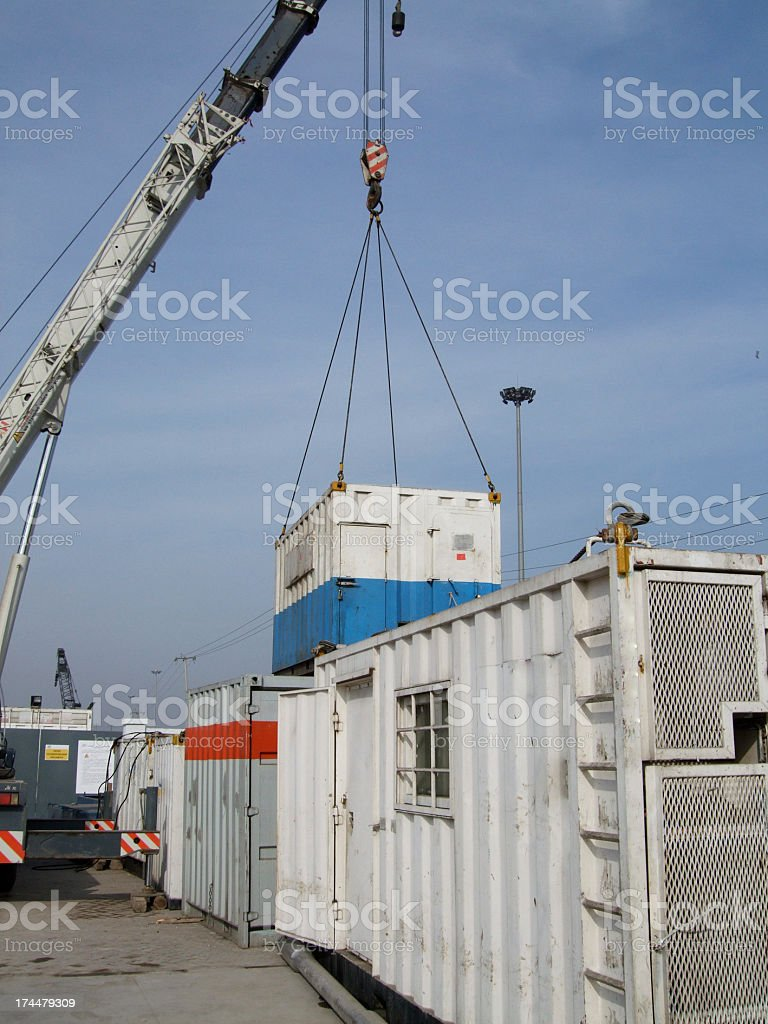Crane lifting offshore cabin royalty-free stock photo
