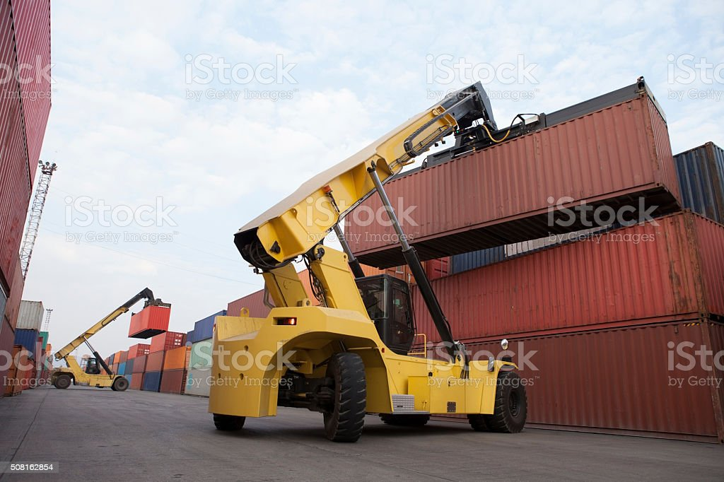 Crane Lifting up container stock photo