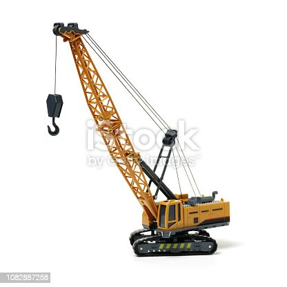 Crane on a toy truck  isolated on white background