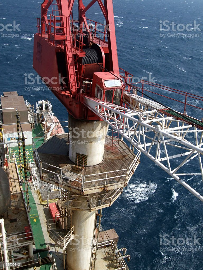 Crane on an oil rig stock photo