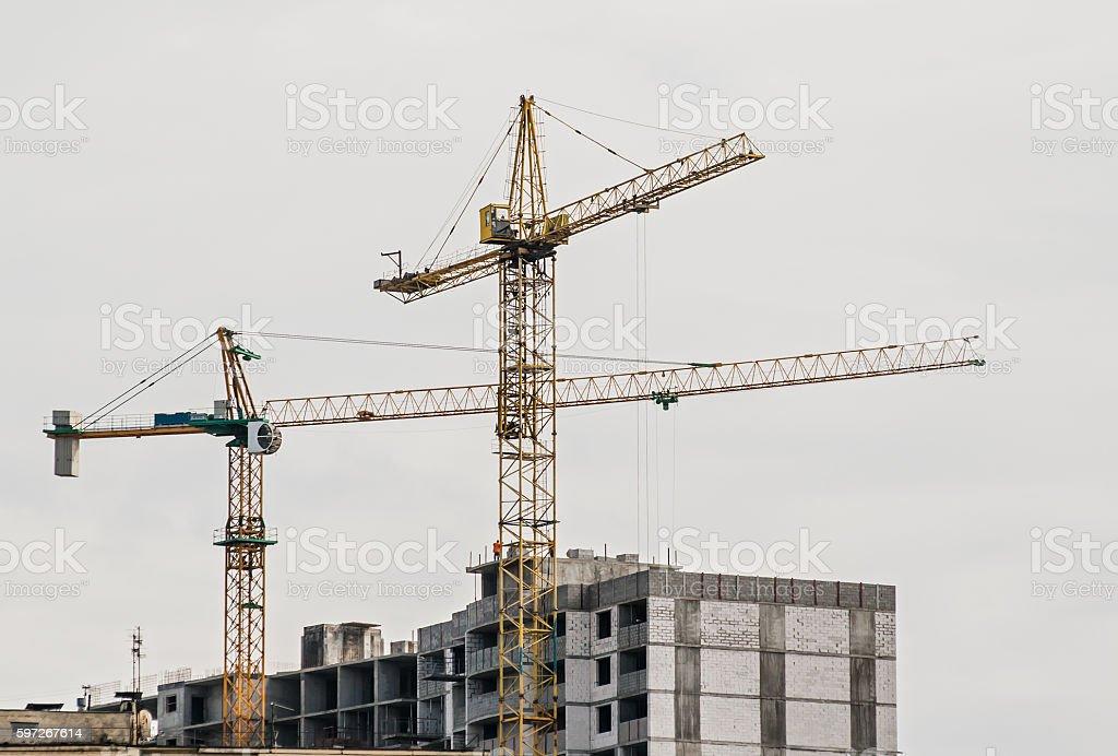 crane on construction of the house on background of aytim royalty-free stock photo