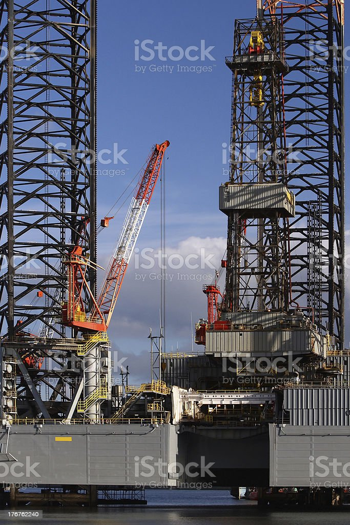 Crane on Oil Platform royalty-free stock photo