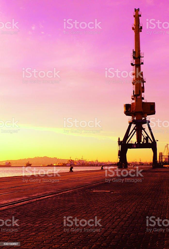 Crane silhouette at sunset stock photo