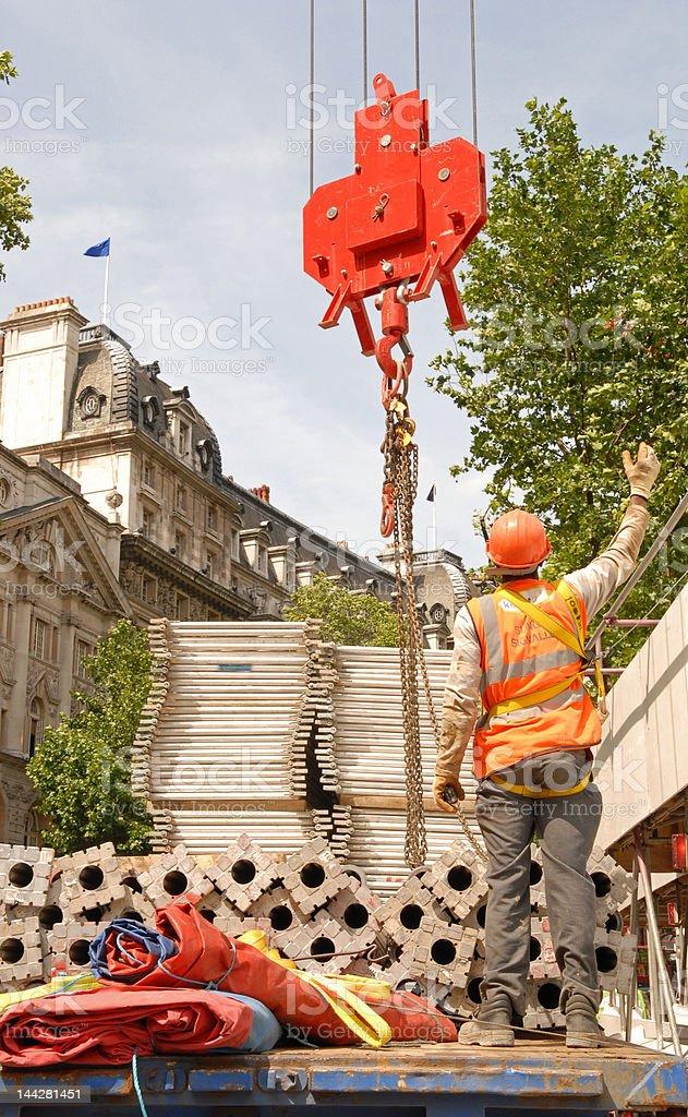 Crane Sling Signaller stock photo