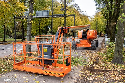 Telescopic crane boom at a park pruning trees