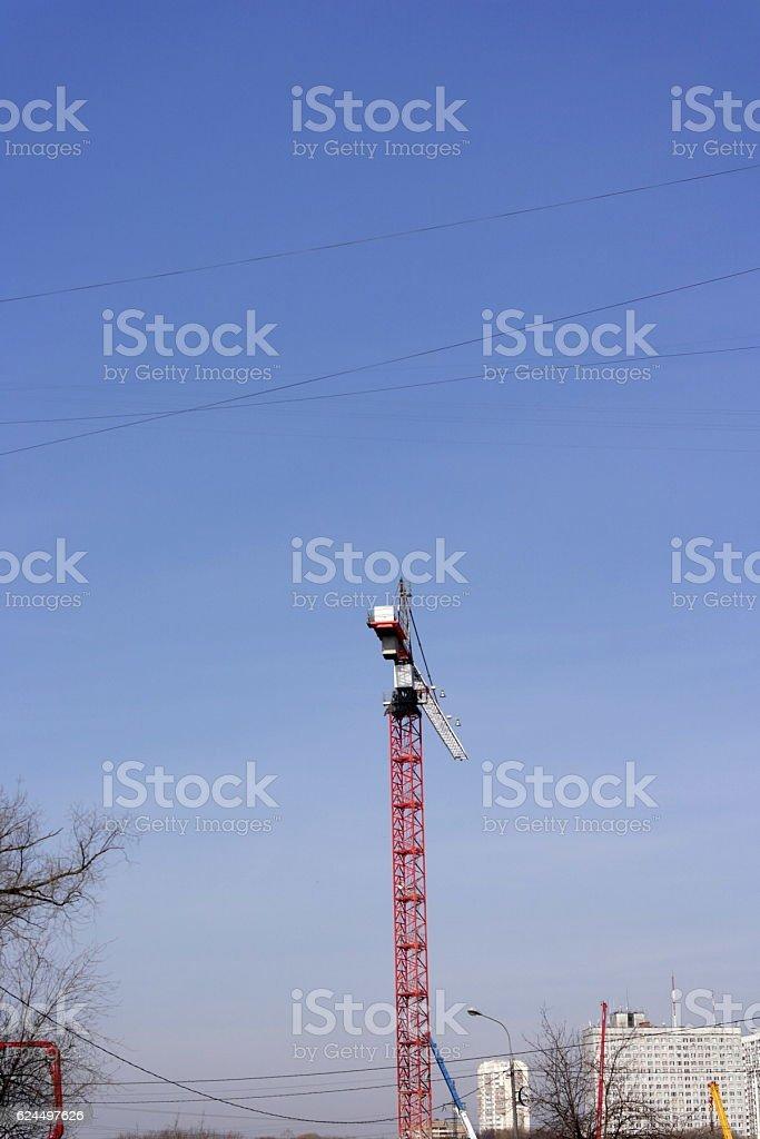 Crane Tower on Sky Background stock photo