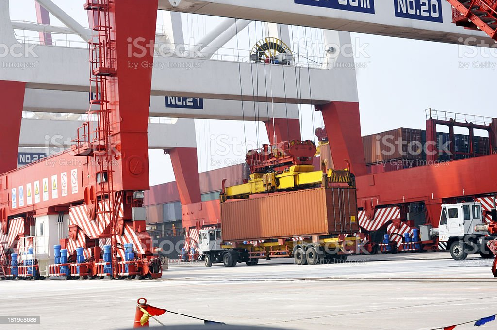 Crane with cargo container royalty-free stock photo