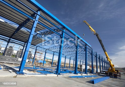 Steel blue frame of business building under construction.