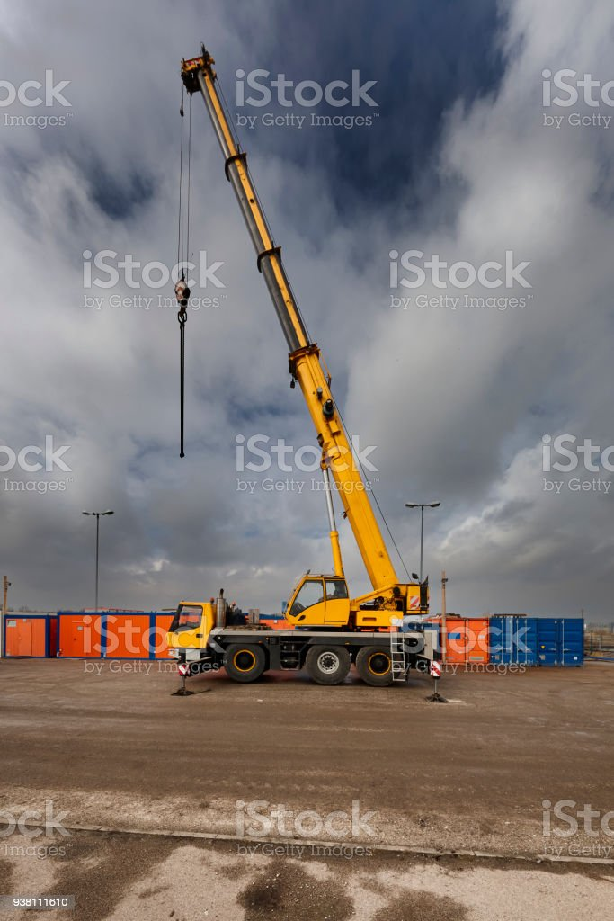 Crane - yellow car crane stock photo