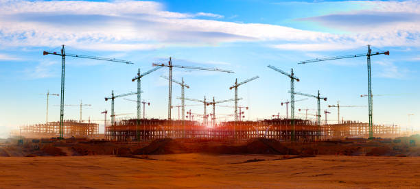Cranes and building construction stock photo
