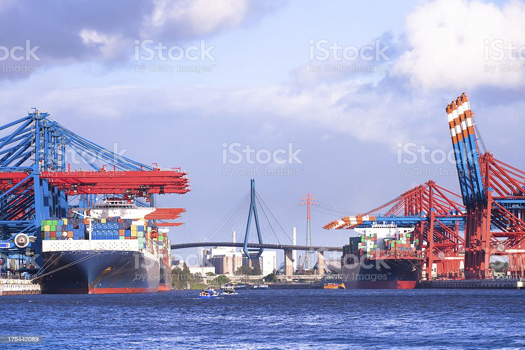 Cranes and Container stock photo