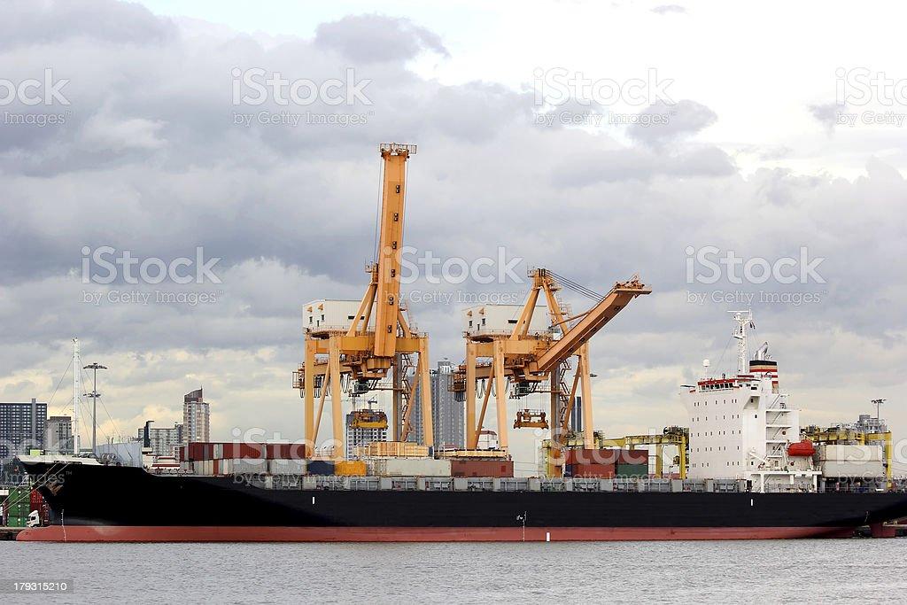Cranes and ship royalty-free stock photo