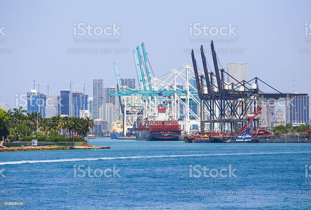 Cranes and Ships in Miami stock photo