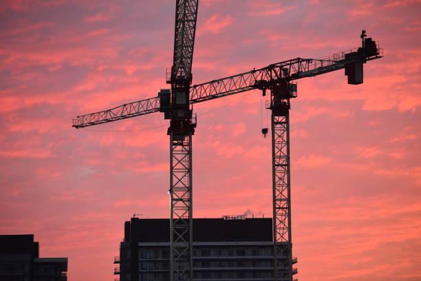 Cranes, Colorfull Sky stock photo