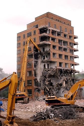 Demolition of a large brick building