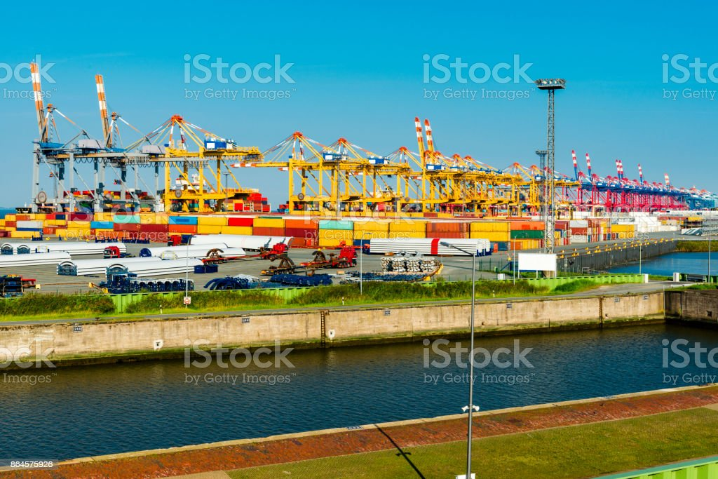 Cranes in Bremerhaven container harbor stock photo
