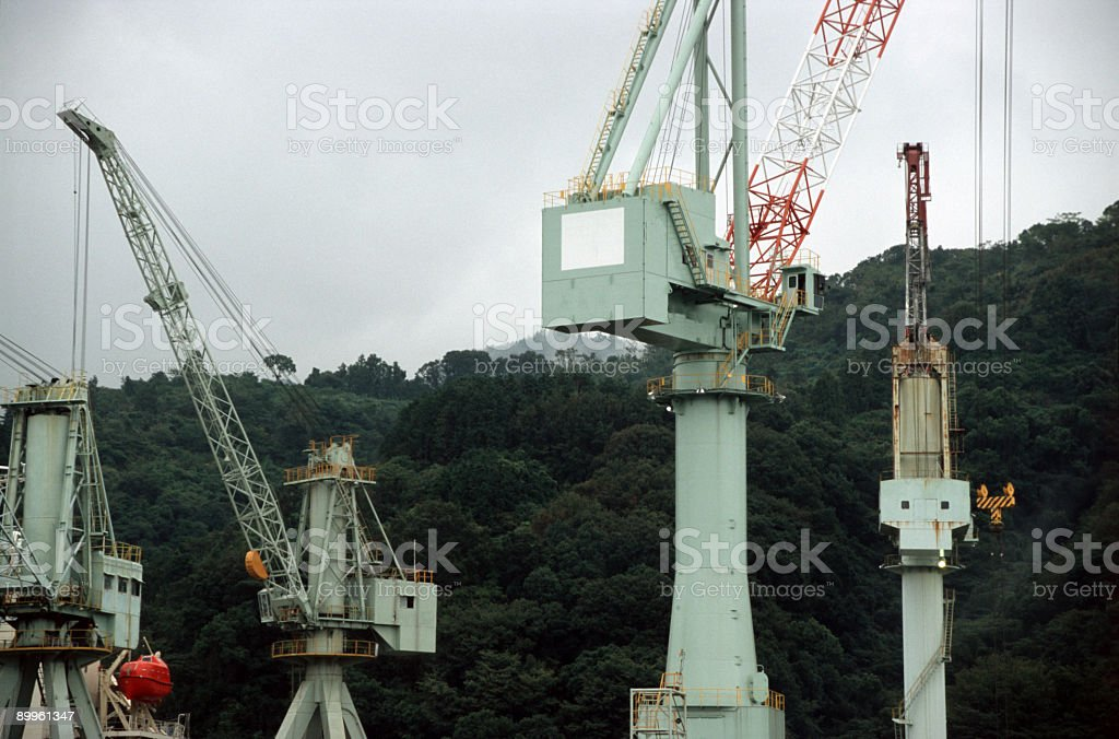 Cranes in dockyard. royalty-free stock photo