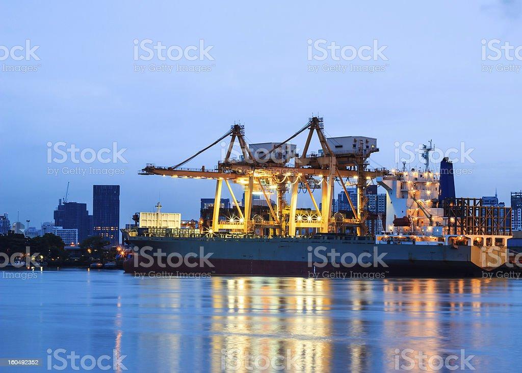 Cranes in harbor royalty-free stock photo