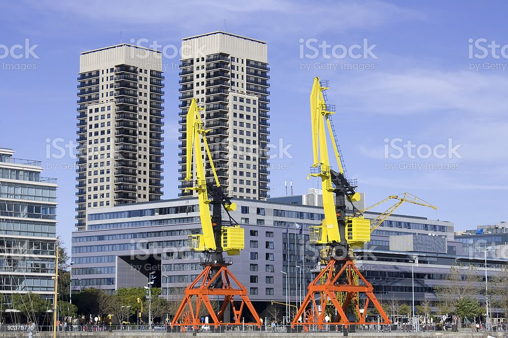 Cranes in Puerto Madero, Buenos Aires. royalty-free stock photo