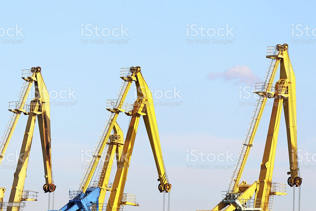 Cranes in seaport royalty-free stock photo