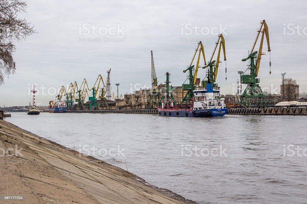 Cranes in St Petersburg stock photo