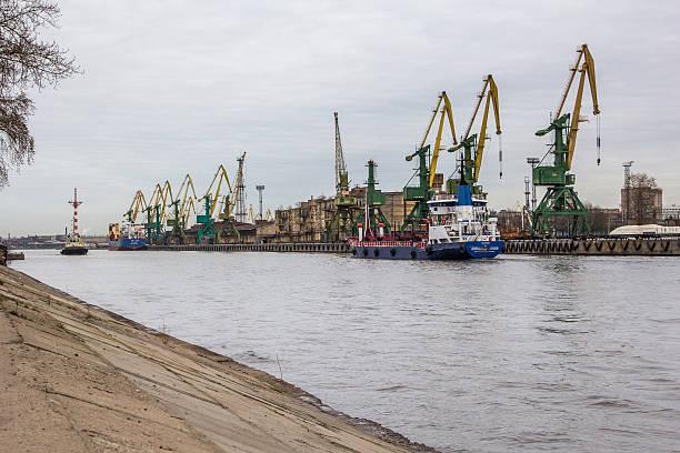 Cranes in St Petersburg stock photo