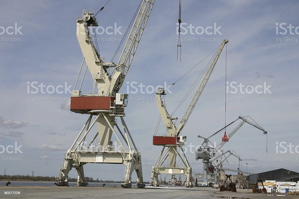 cranes in the harbour royalty-free stock photo