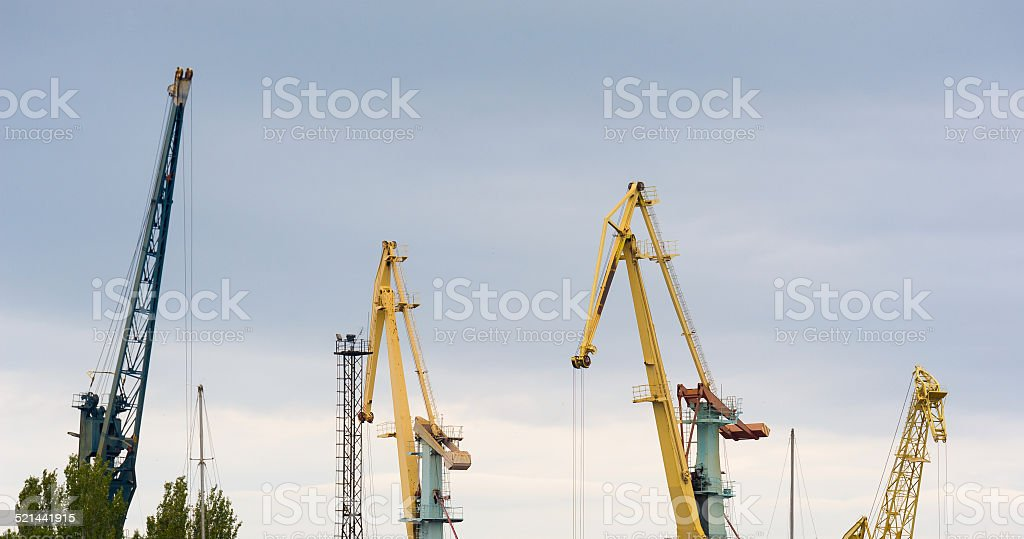 Cranes in the seaport stock photo