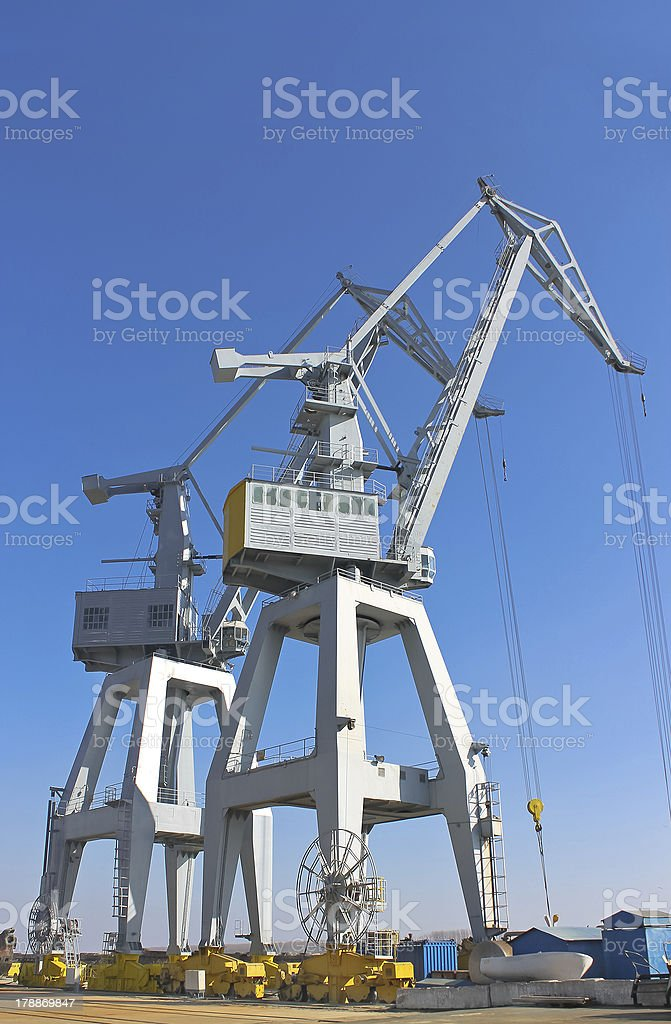 Cranes in the shipyard. royalty-free stock photo