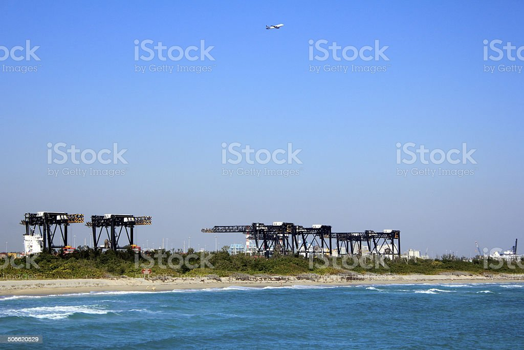 Cranes of Port Everglades stock photo