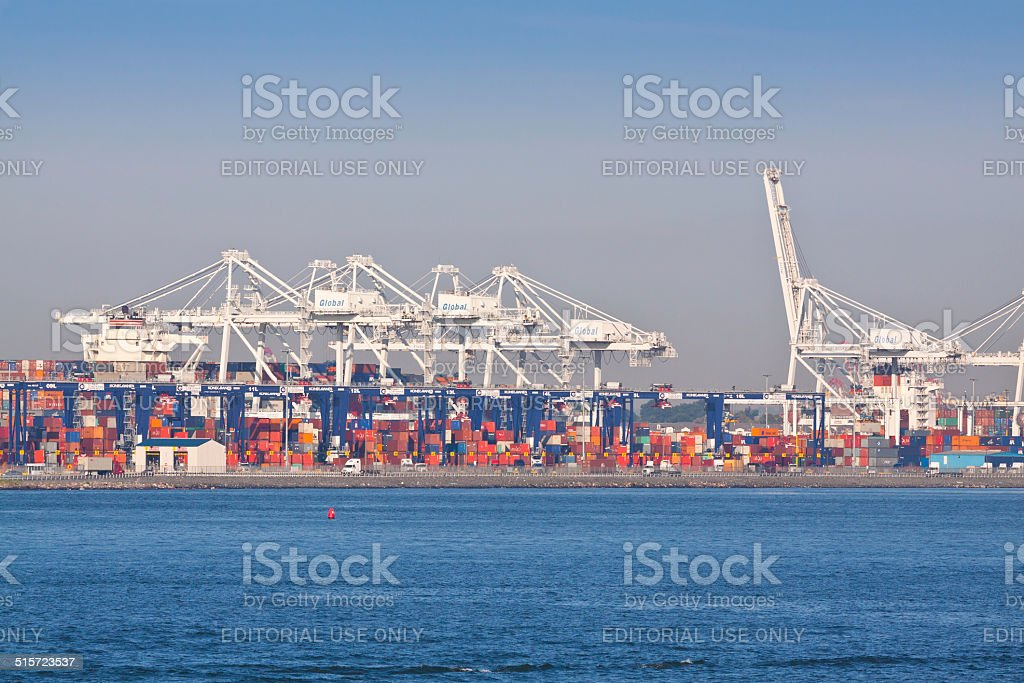 Cranes of Port-Bayonne. stock photo
