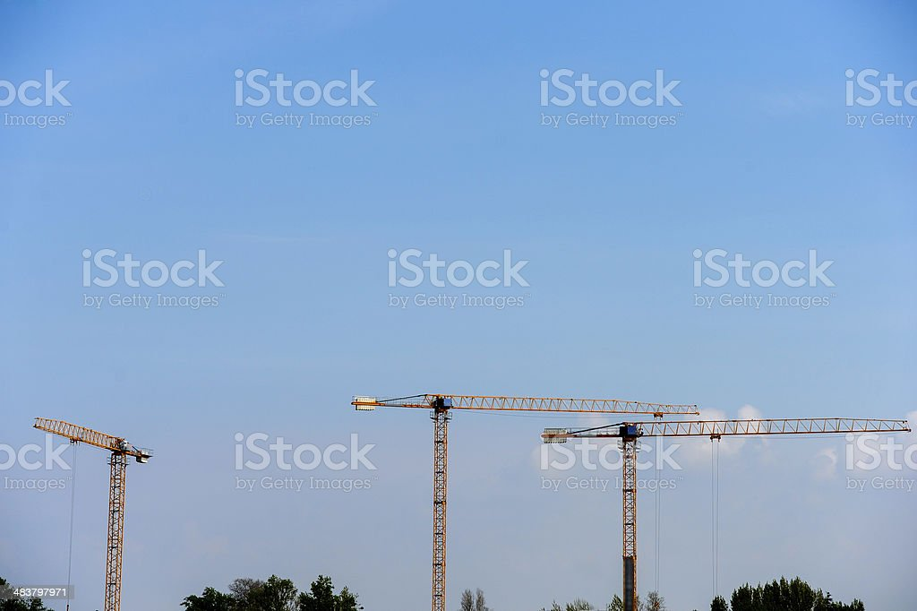 Cranes on a construction site in Bordeaux-France royalty-free stock photo