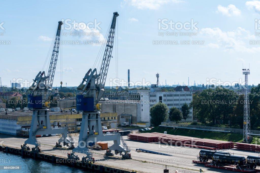 Cranes on dockside of Gdansk Poland stock photo