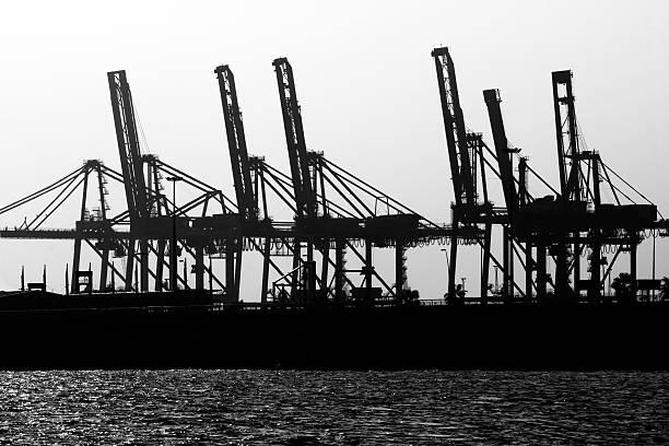 cranes Ship Cargo stock photo