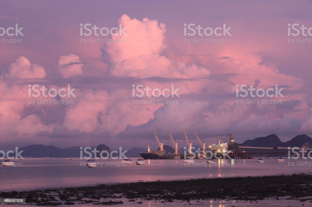 Cranes, shipyard docks stock photo