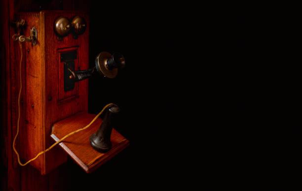 Crank Telephone with Dark Background stock photo