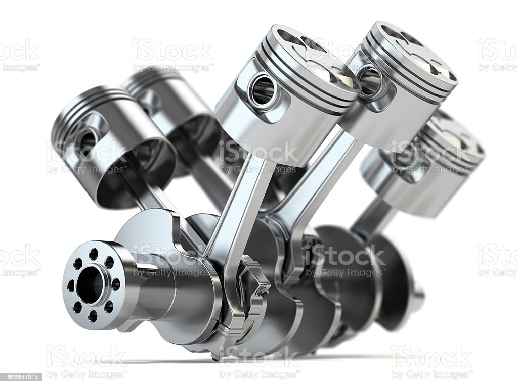 Crankshaft V6 engine stock photo