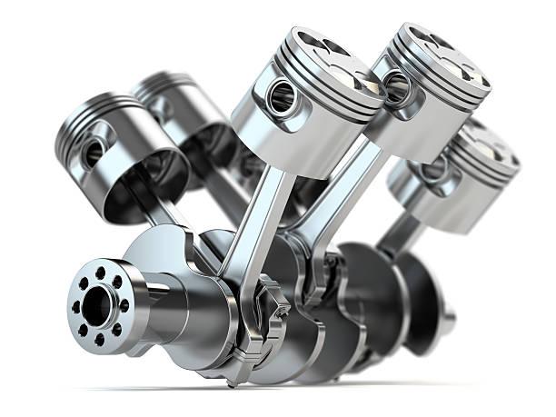 Crankshaft V6 engine Crankshaft V6 engine isolated on white background piston stock pictures, royalty-free photos & images