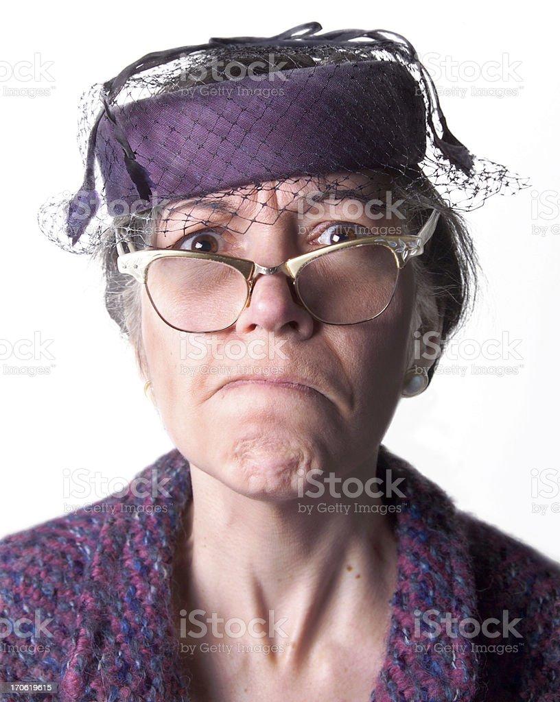 cranky old lady stock photo