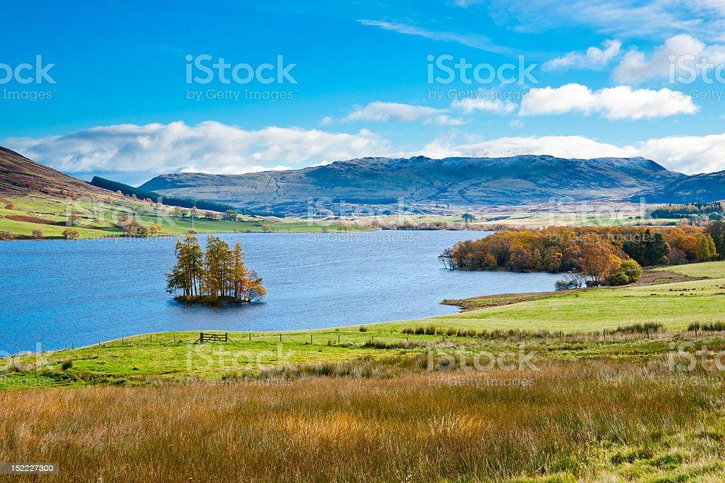 Crannog on Loch Freuchie stock photo
