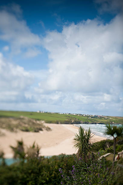 crantock beach, newquay, cornwall - cornwall stock pictures, royalty-free photos & images