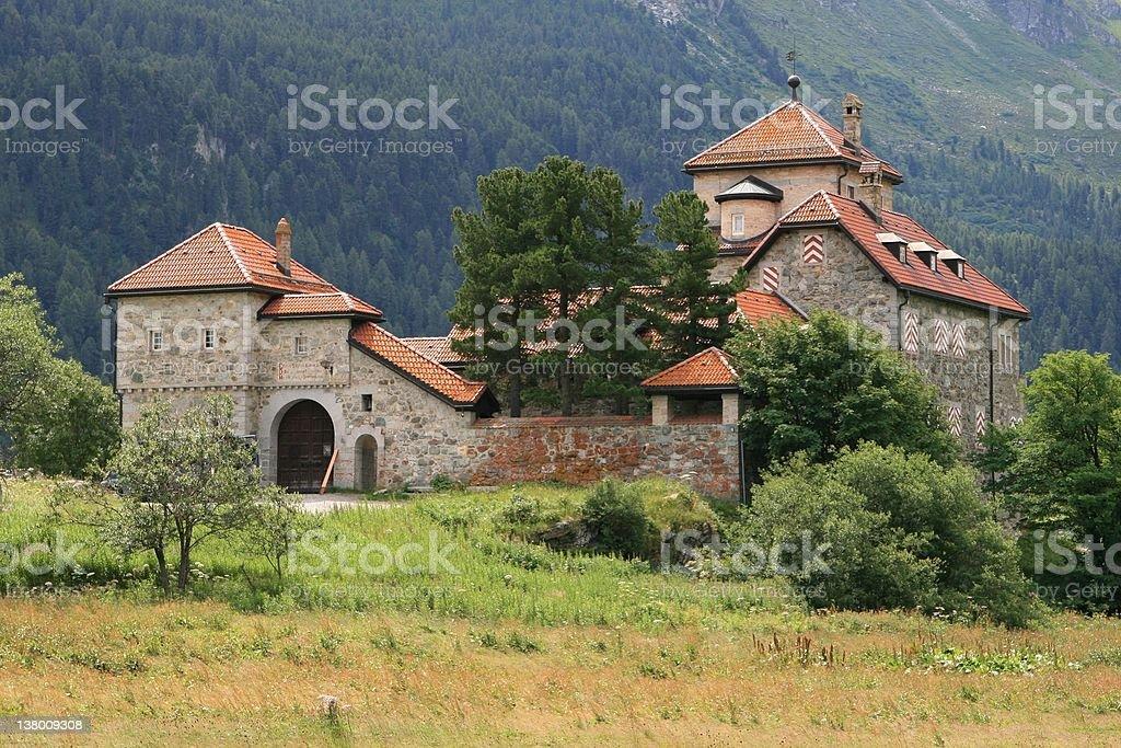 Crap da Sass castle in Silvaplana, Switzerland royalty-free stock photo