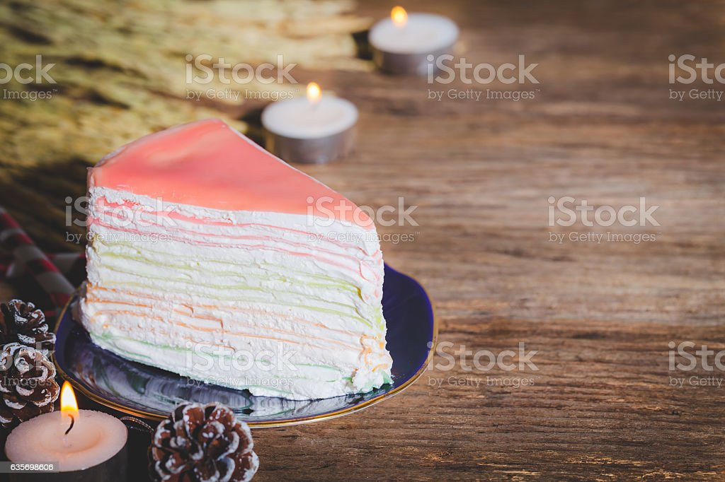 Crape cake with strawberry jam. royalty-free stock photo