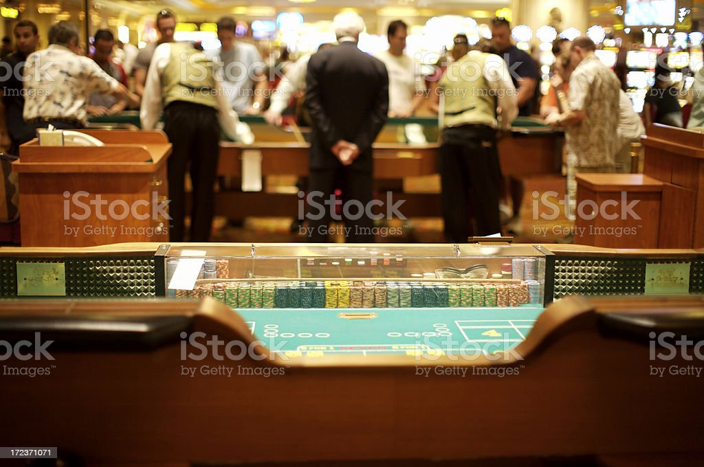 Craps table in action stock photo