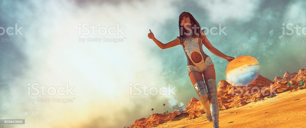 Crash landed on alien planet stock photo