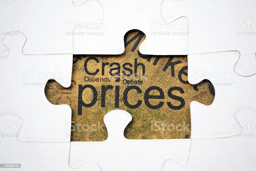 Crash prices puzzle concept stock photo