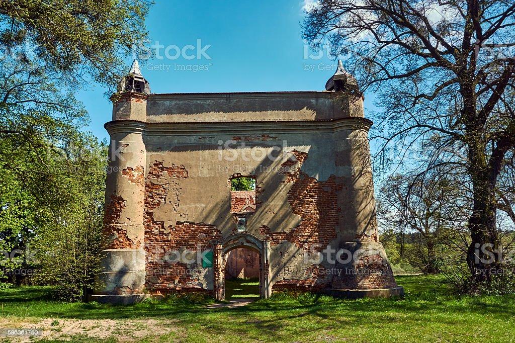 Crash rural Catholic church royalty-free stock photo