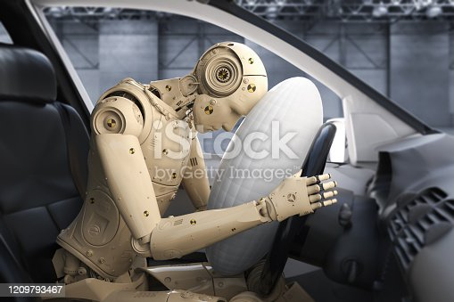 Crash test with 3d rendering dummy hit with air bag